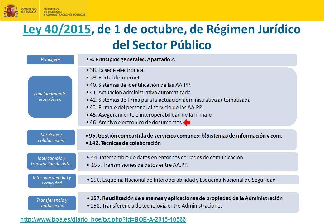 Ley 40/2015, de 1 de octubre, de Régimen Jurídico del Sector Público http://www.boe.es/diario_boe/txt.php?id=BOE-A-2015-10566