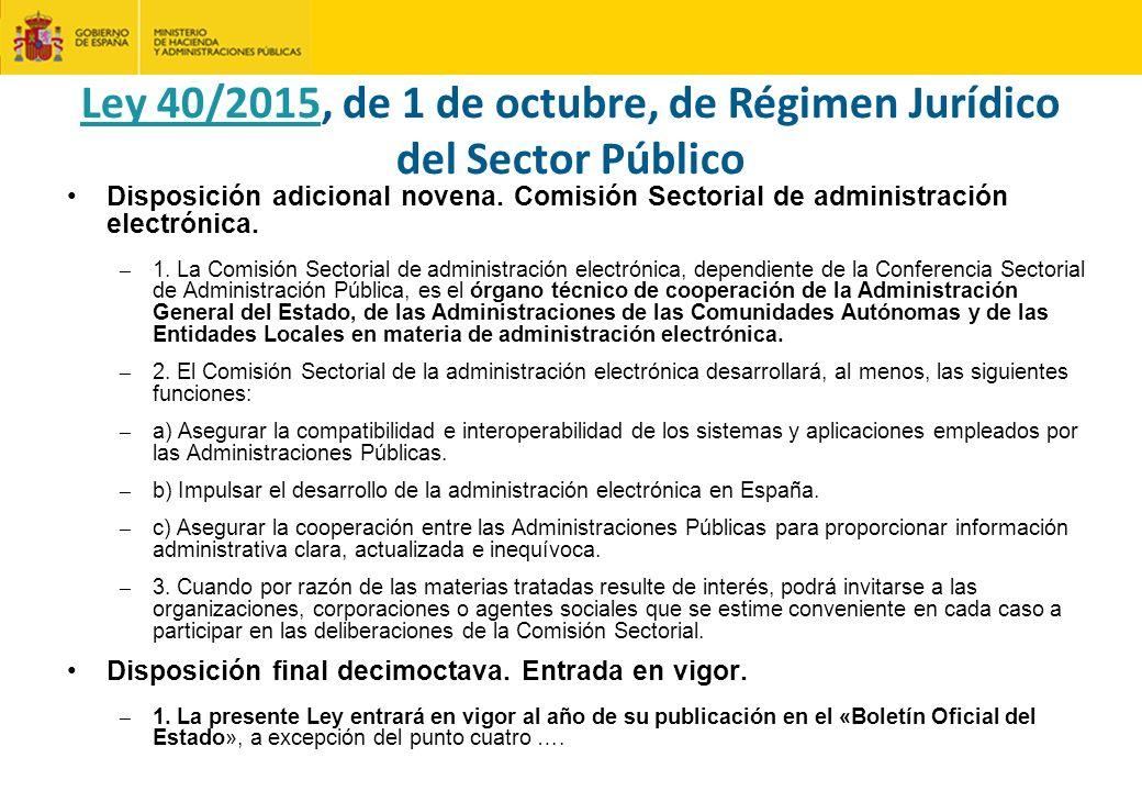 Disposición adicional novena.Comisión Sectorial de administración electrónica.