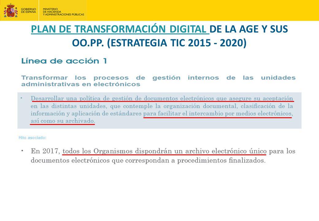 Hito asociado: PLAN DE TRANSFORMACIÓN DIGITAL DE LA AGE Y SUS OO.PP. (ESTRATEGIA TIC 2015 - 2020)