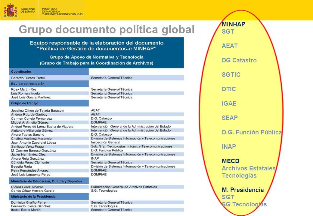 Grupo documento política global julio 2015 MINHAP SGT AEAT DG Catastro SGTIC DTIC IGAE SEAP D.G.