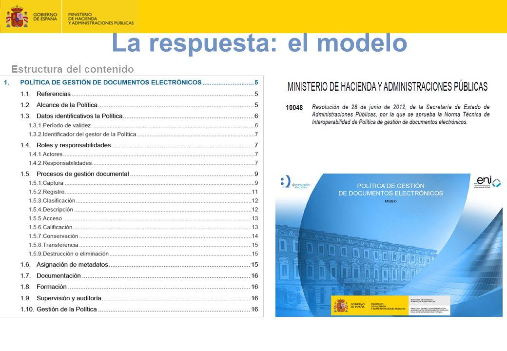 Estructura del contenido diciembre 2014 Política de gestión de documento electrónico MINHAP CSCDA 43 La respuesta: el modelo
