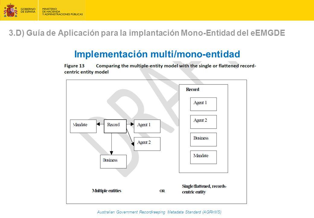 Australian Government Recordkeeping Metadata Standard (AGRkMS) Implementación multi/mono-entidad 3.D) Guía de Aplicación para la implantación Mono-Entidad del eEMGDE