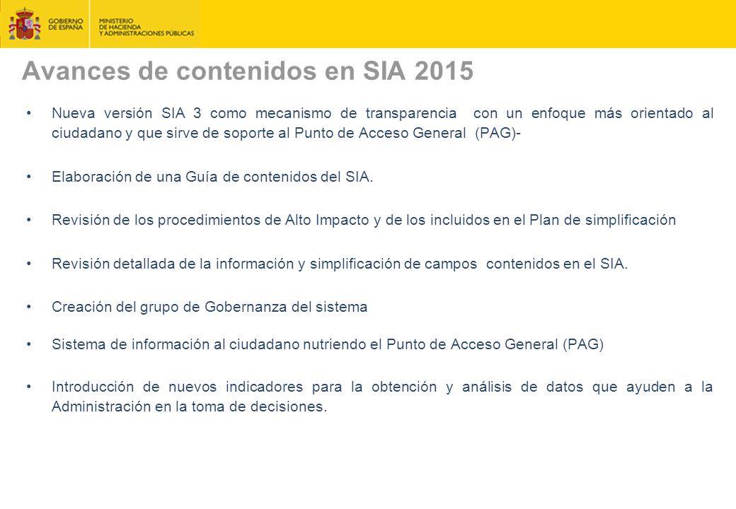 Avances de contenidos en SIA 2015 Nueva versión SIA 3 como mecanismo de transparencia con un enfoque más orientado al ciudadano y que sirve de soporte al Punto de Acceso General (PAG)- Elaboración de una Guía de contenidos del SIA.