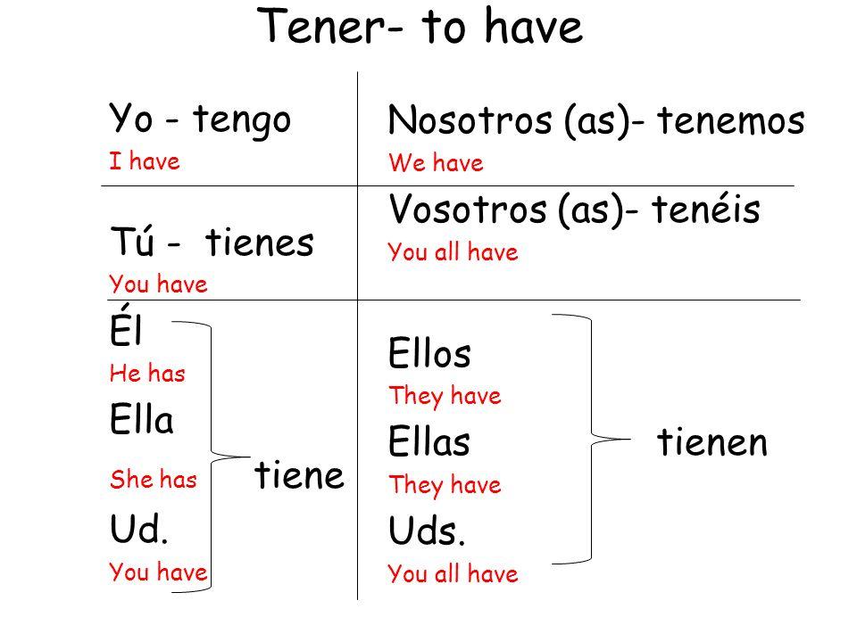 Yo - tengo I have Tú - tienes You have Él He has Ella She has tiene Ud.