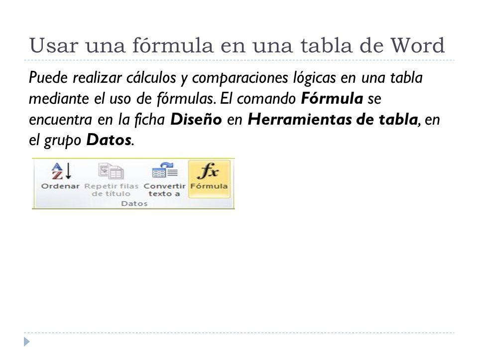 Usar una fórmula en una tabla de Word Puede realizar cálculos y comparaciones lógicas en una tabla mediante el uso de fórmulas.