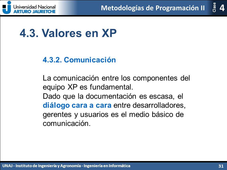 Metodologías de Programación II UNAJ - Instituto de Ingeniería y Agronomía - Ingeniería en Informática 31 4 Clase 4.3.2.