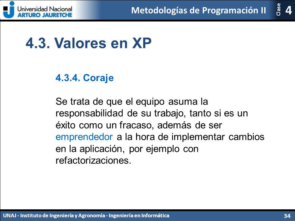 Metodologías de Programación II UNAJ - Instituto de Ingeniería y Agronomía - Ingeniería en Informática 34 4 Clase 4.3.4.