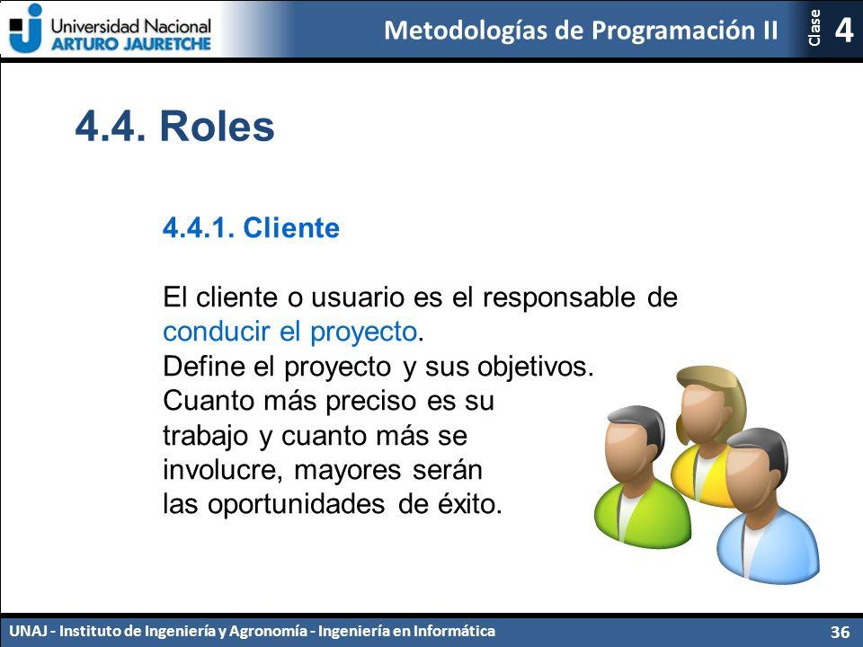 Metodologías de Programación II UNAJ - Instituto de Ingeniería y Agronomía - Ingeniería en Informática 36 4 Clase 4.4.1.