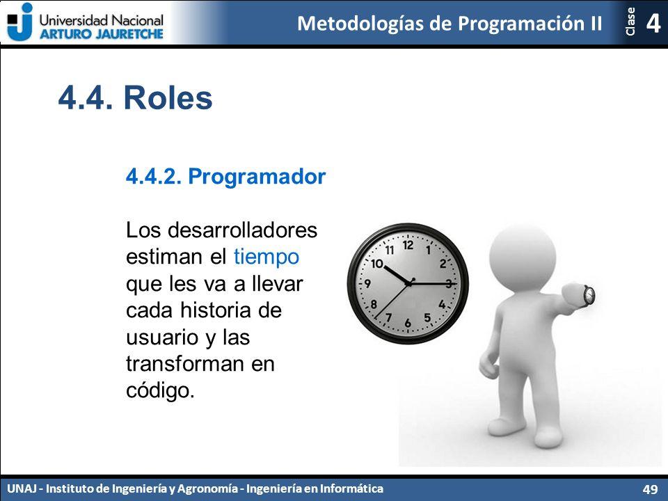 Metodologías de Programación II UNAJ - Instituto de Ingeniería y Agronomía - Ingeniería en Informática 49 4 Clase 4.4.