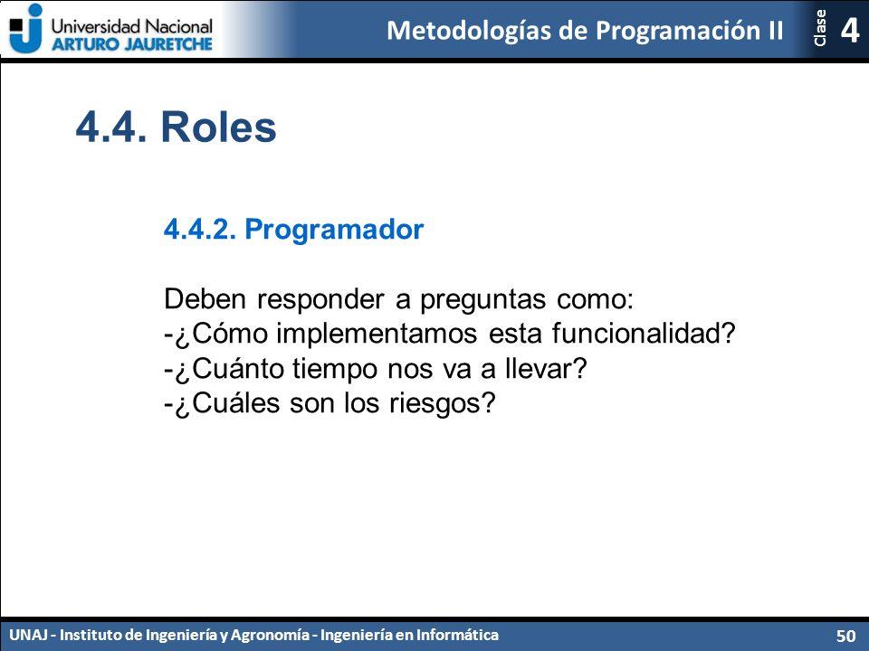 Metodologías de Programación II UNAJ - Instituto de Ingeniería y Agronomía - Ingeniería en Informática 50 4 Clase 4.4.