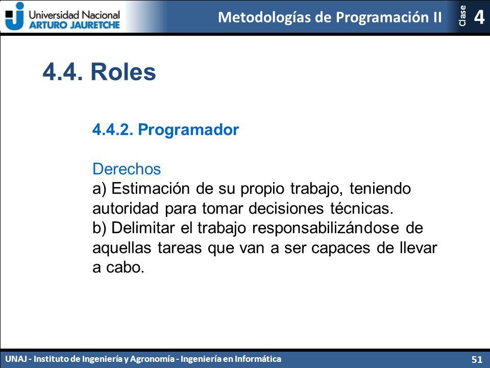 Metodologías de Programación II UNAJ - Instituto de Ingeniería y Agronomía - Ingeniería en Informática 51 4 Clase 4.4.
