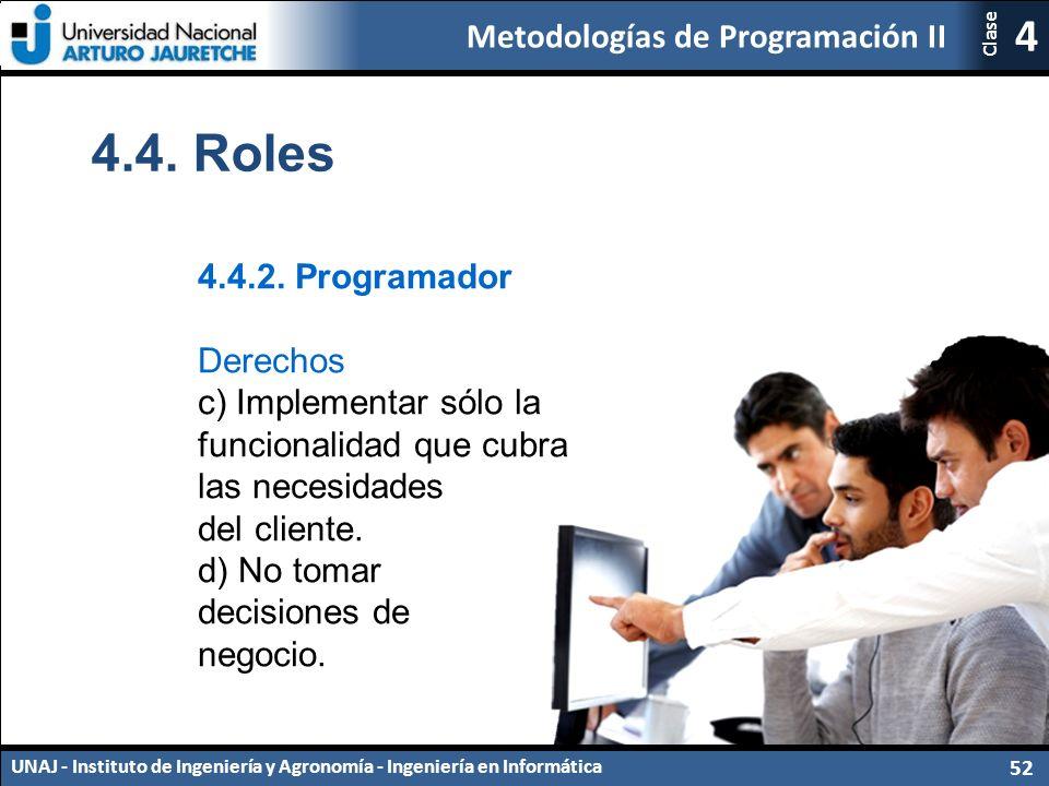 Metodologías de Programación II UNAJ - Instituto de Ingeniería y Agronomía - Ingeniería en Informática 52 4 Clase 4.4.