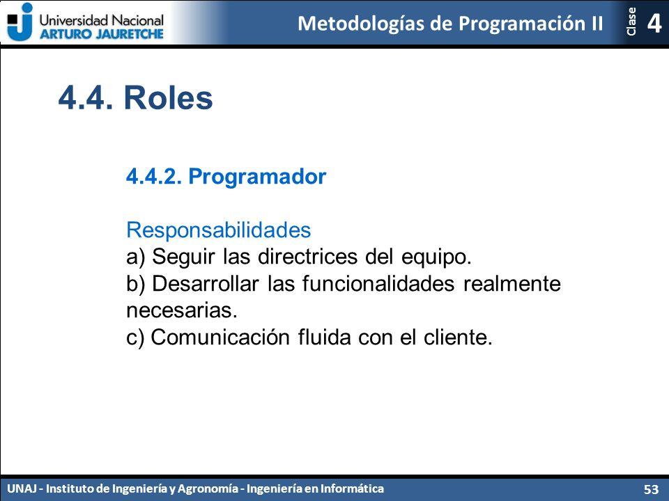 Metodologías de Programación II UNAJ - Instituto de Ingeniería y Agronomía - Ingeniería en Informática 53 4 Clase 4.4.