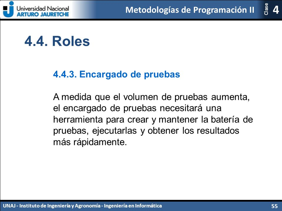 Metodologías de Programación II UNAJ - Instituto de Ingeniería y Agronomía - Ingeniería en Informática 55 4 Clase 4.4.