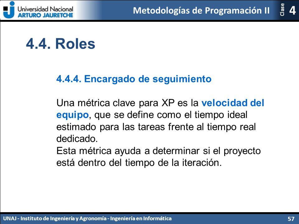 Metodologías de Programación II UNAJ - Instituto de Ingeniería y Agronomía - Ingeniería en Informática 57 4 Clase 4.4.