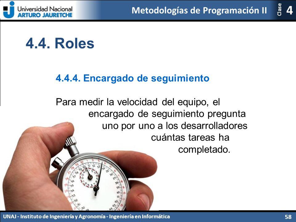 Metodologías de Programación II UNAJ - Instituto de Ingeniería y Agronomía - Ingeniería en Informática 58 4 Clase 4.4.