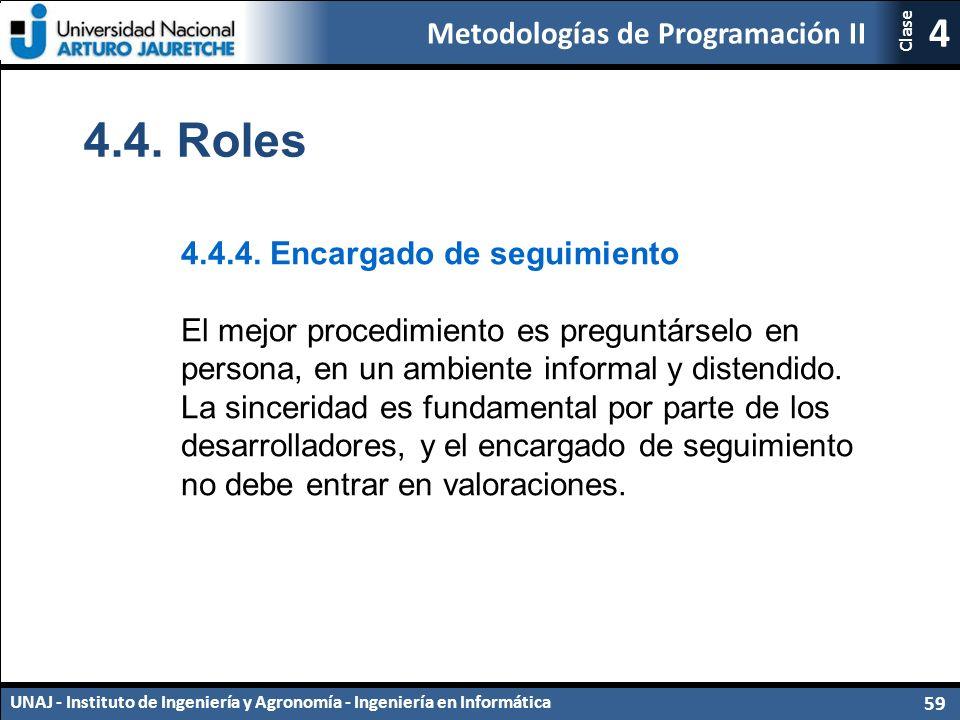 Metodologías de Programación II UNAJ - Instituto de Ingeniería y Agronomía - Ingeniería en Informática 59 4 Clase 4.4.
