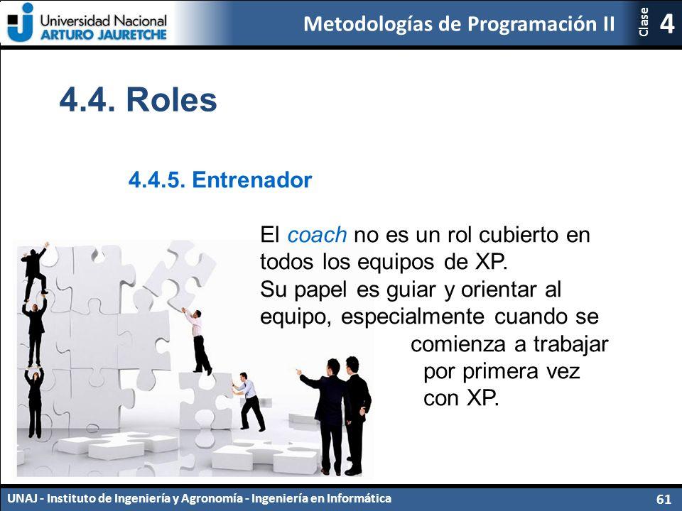 Metodologías de Programación II UNAJ - Instituto de Ingeniería y Agronomía - Ingeniería en Informática 61 4 Clase 4.4.