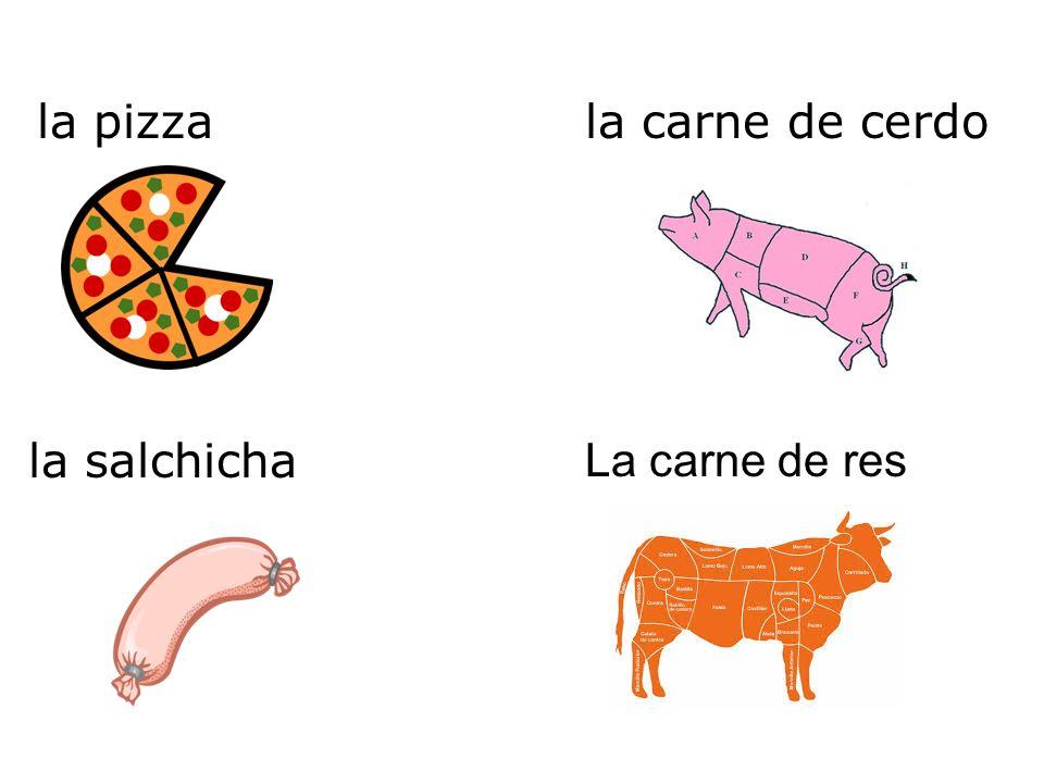 la pizza La carne de res la salchicha la carne de cerdo