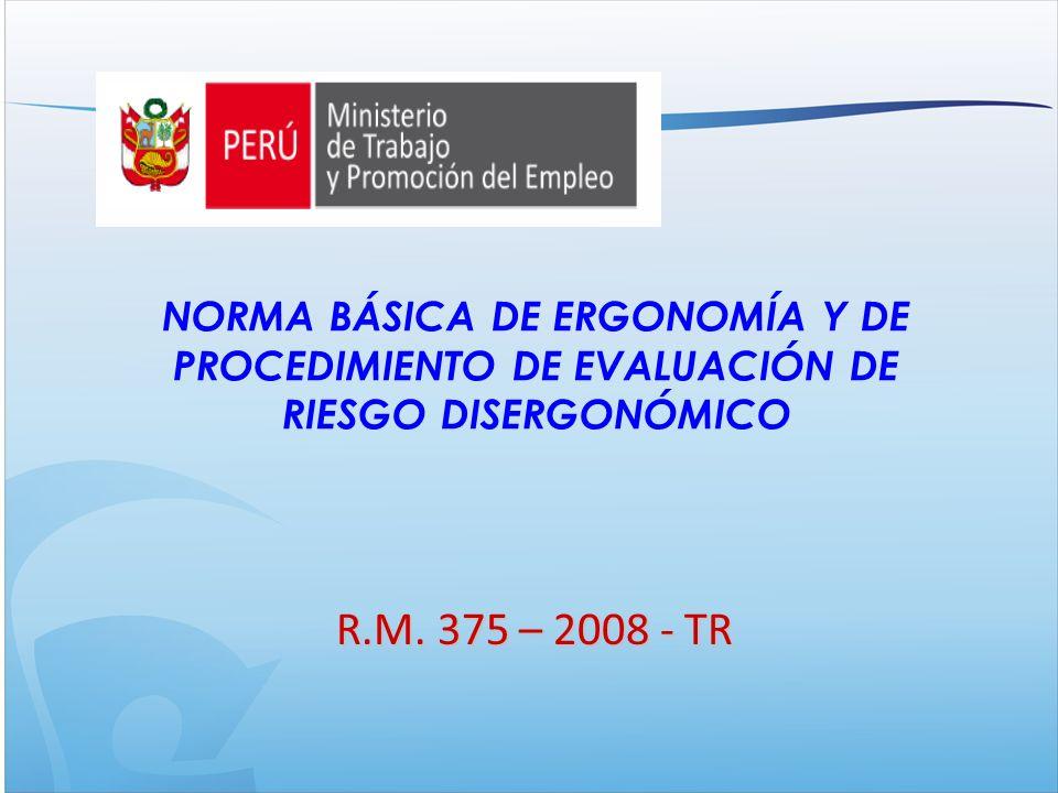 NORMA BÁSICA DE ERGONOMÍA Y DE PROCEDIMIENTO DE EVALUACIÓN DE RIESGO DISERGONÓMICO R.M.