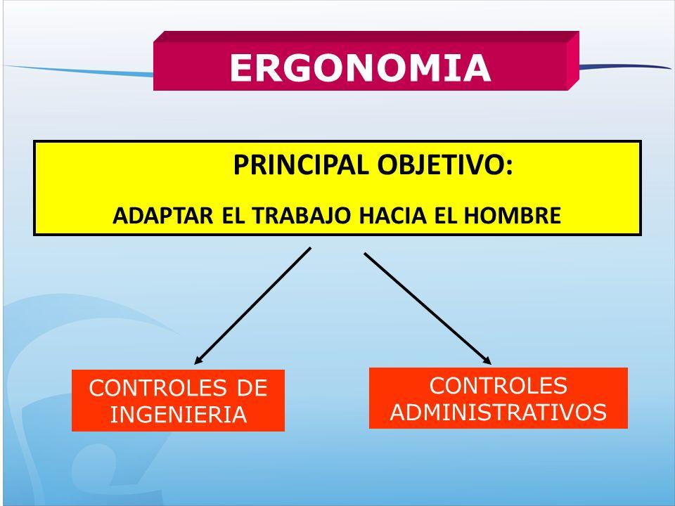 PRINCIPAL OBJETIVO: ADAPTAR EL TRABAJO HACIA EL HOMBRE ERGONOMIA CONTROLES DE INGENIERIA CONTROLES ADMINISTRATIVOS