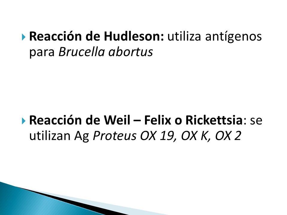 Reacción de Hudleson: utiliza antígenos para Brucella abortus  Reacción de Weil – Felix o Rickettsia: se utilizan Ag Proteus OX 19, OX K, OX 2