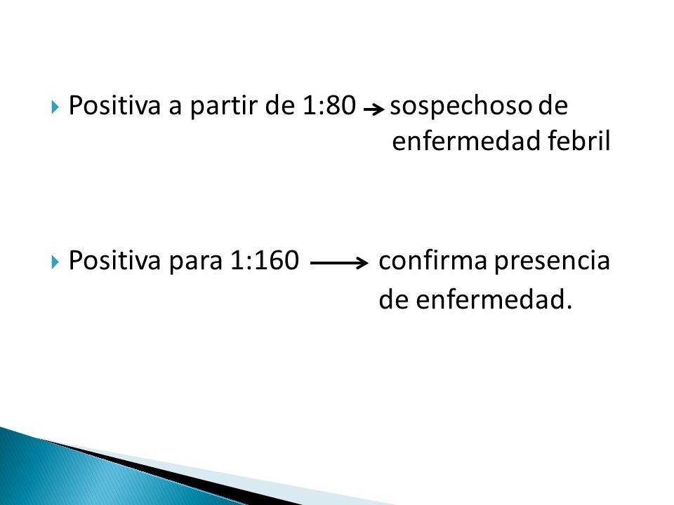  Positiva a partir de 1:80 sospechoso de enfermedad febril  Positiva para 1:160 confirma presencia de enfermedad.