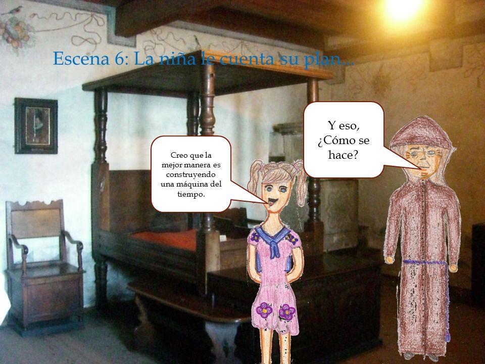  Enscena 5: la niña observando la noche para escaparse con el monje...