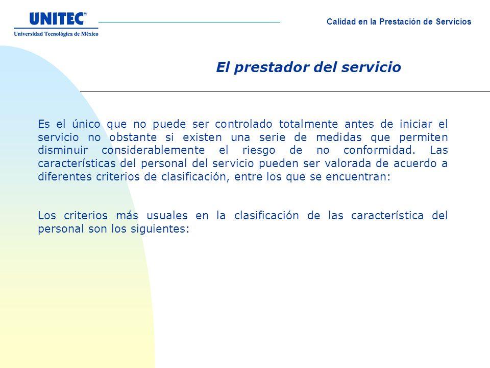 El prestador del servicio Es el único que no puede ser controlado totalmente antes de iniciar el servicio no obstante si existen una serie de medidas