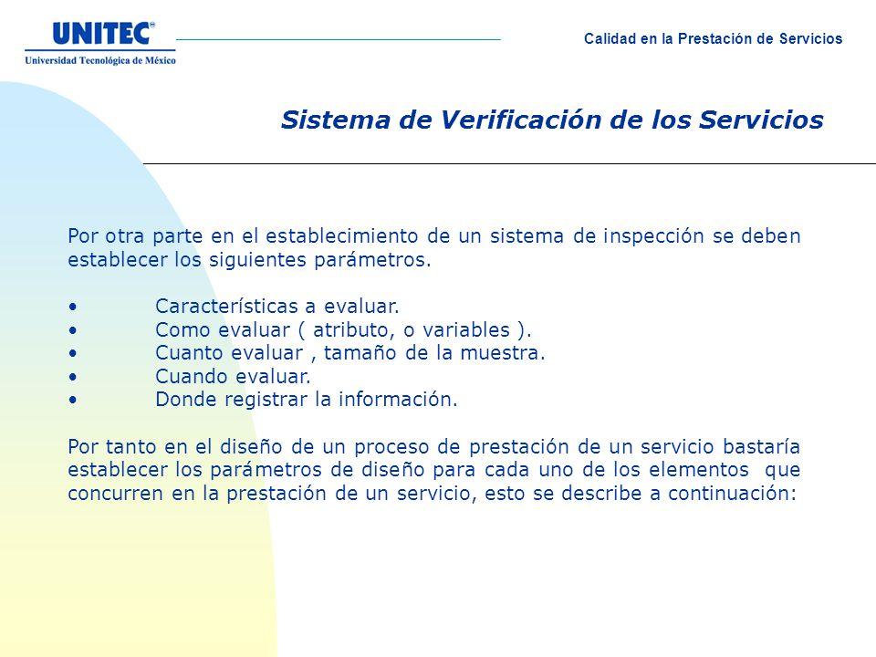 Sistema de Verificación de los Servicios Por otra parte en el establecimiento de un sistema de inspección se deben establecer los siguientes parámetro