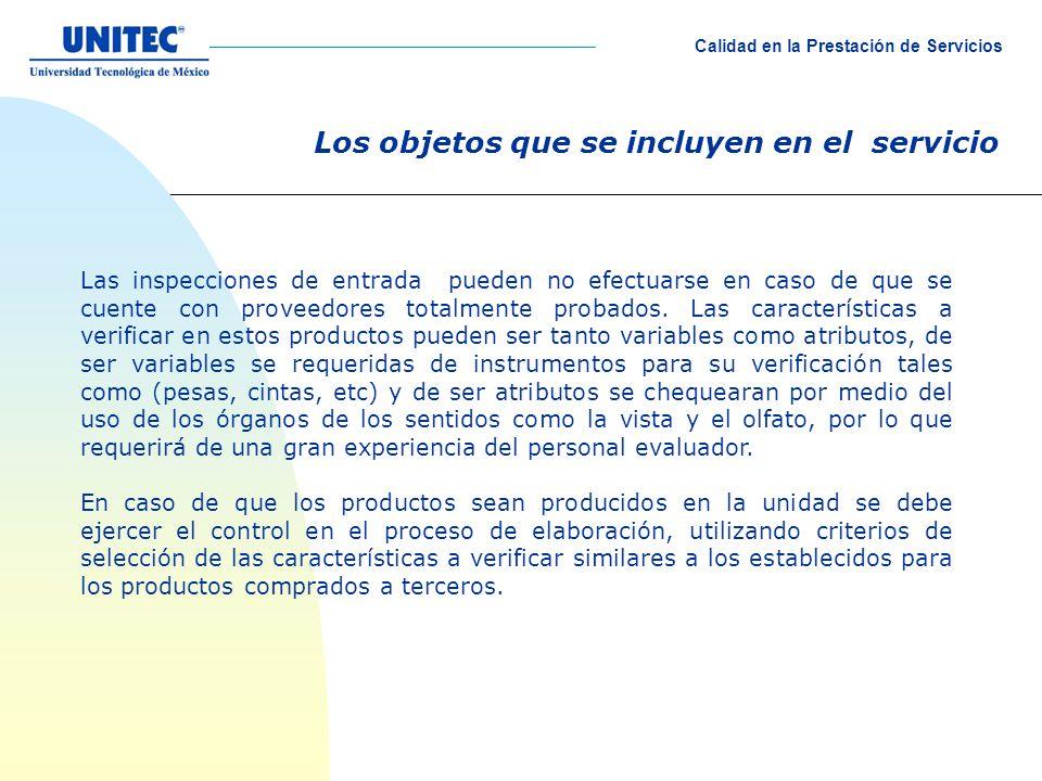 Los objetos que se incluyen en el servicio Las inspecciones de entrada pueden no efectuarse en caso de que se cuente con proveedores totalmente probados.