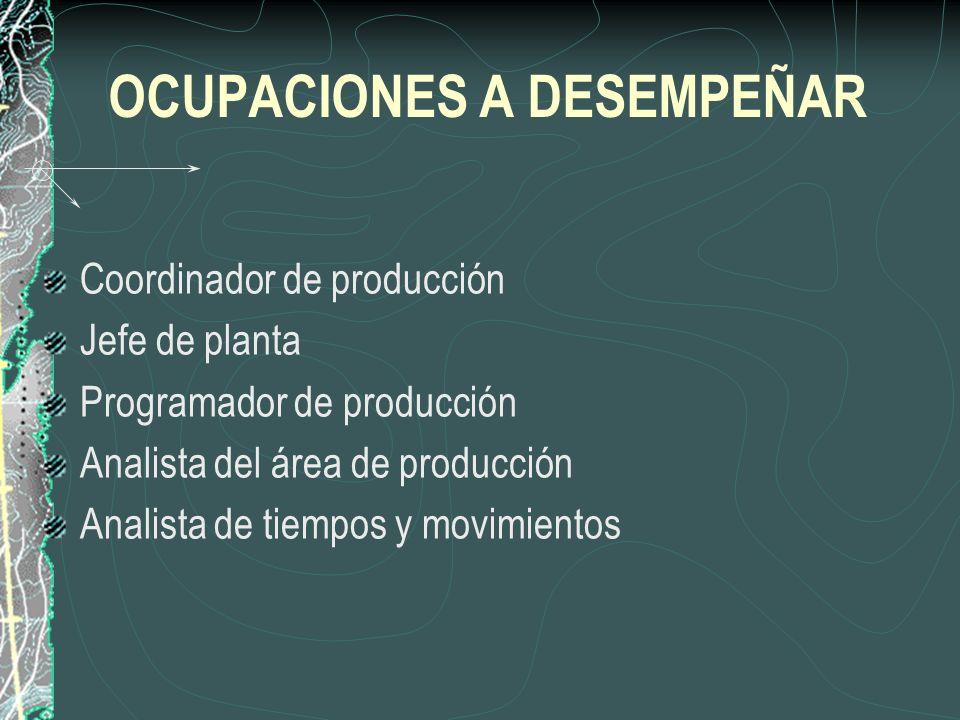 OCUPACIONES A DESEMPEÑAR Coordinador de producción Jefe de planta Programador de producción Analista del área de producción Analista de tiempos y movimientos