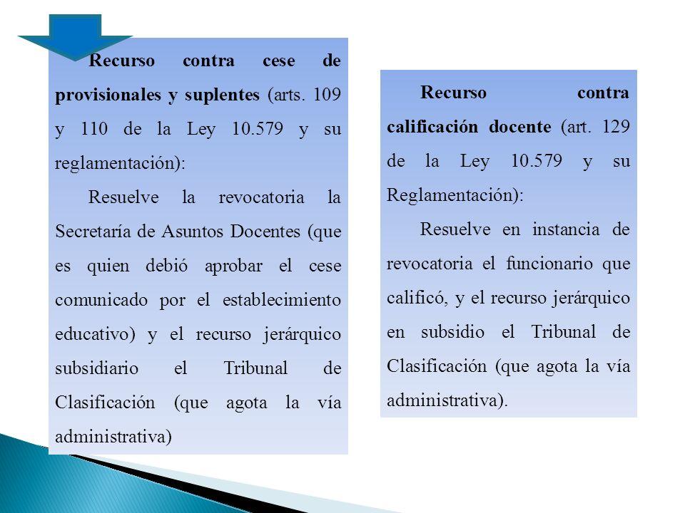Recurso contra cese de provisionales y suplentes (arts.