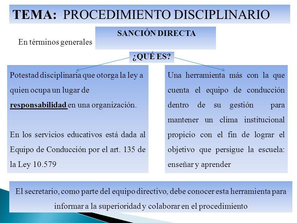 TEMA: PROCEDIMIENTO DISCIPLINARIO En términos generales ¿QUÉ ES.