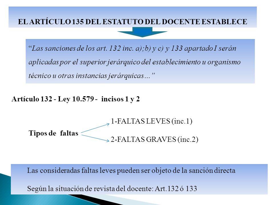 Las sanciones de los art. 132 inc.