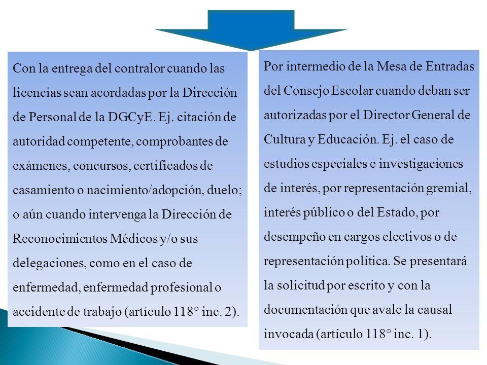 Con la entrega del contralor cuando las licencias sean acordadas por la Dirección de Personal de la DGCyE.
