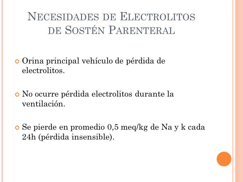 N ECESIDADES DE E LECTROLITOS DE S OSTÉN P ARENTERAL Orina principal vehículo de pérdida de electrolitos.