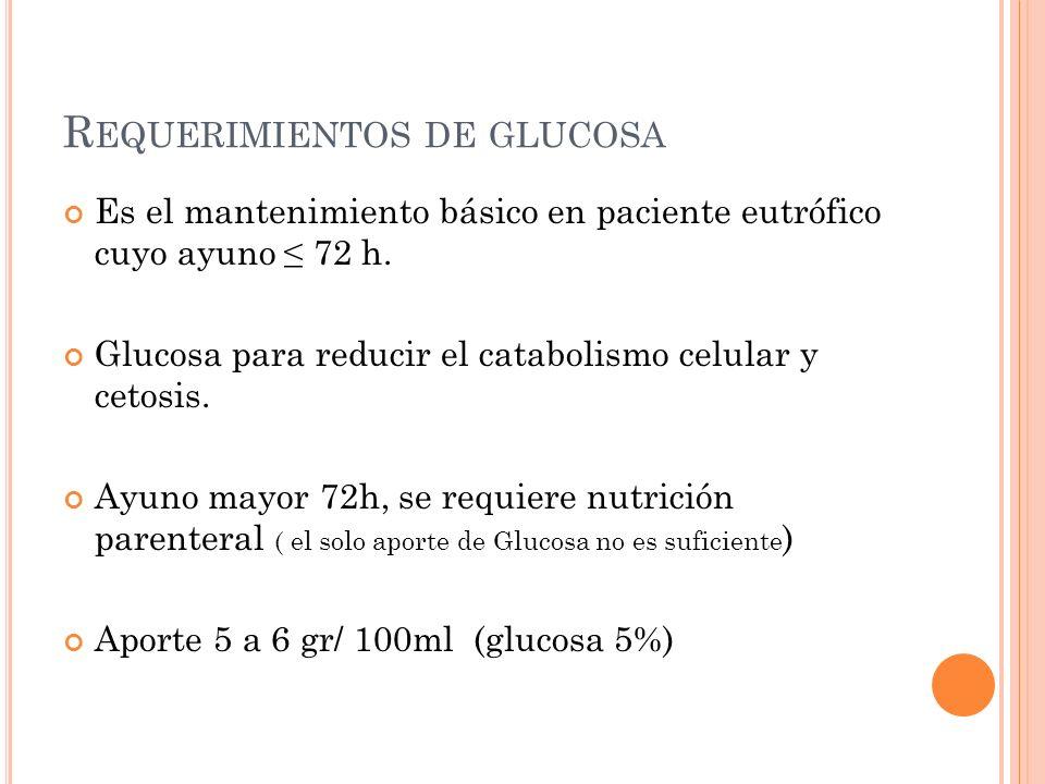 R EQUERIMIENTOS DE GLUCOSA Es el mantenimiento básico en paciente eutrófico cuyo ayuno ≤ 72 h.