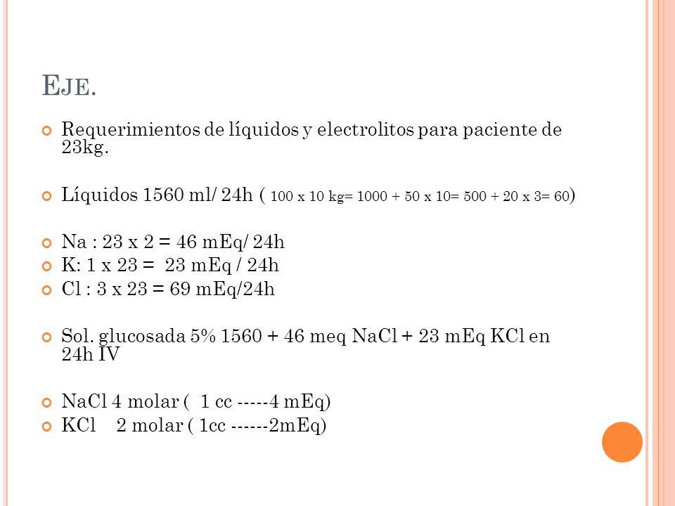 E JE. Requerimientos de líquidos y electrolitos para paciente de 23kg.