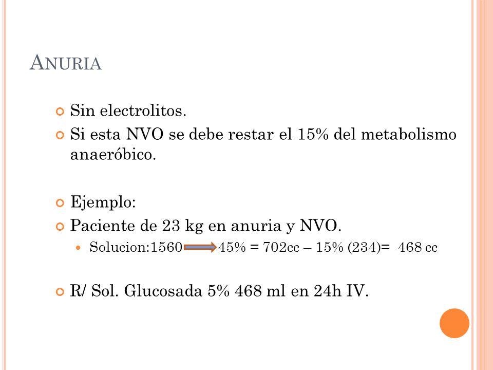 A NURIA Sin electrolitos. Si esta NVO se debe restar el 15% del metabolismo anaeróbico.