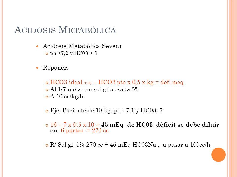 A CIDOSIS M ETABÓLICA Acidosis Metabólica Severa ph <7,2 y HC03 < 8 Reponer: HCO3 ideal (>16) – HCO3 pte x 0,5 x kg = def.