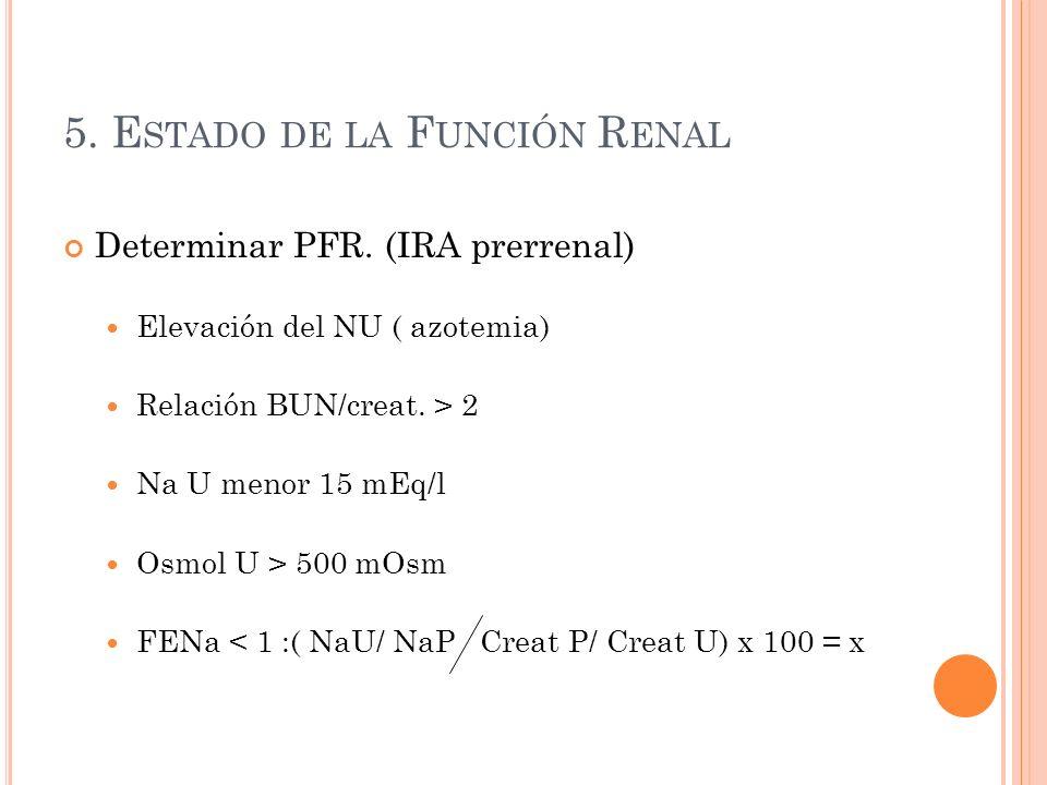 5. E STADO DE LA F UNCIÓN R ENAL Determinar PFR.