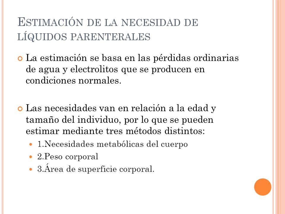 E STIMACIÓN DE LA NECESIDAD DE LÍQUIDOS PARENTERALES La estimación se basa en las pérdidas ordinarias de agua y electrolitos que se producen en condiciones normales.