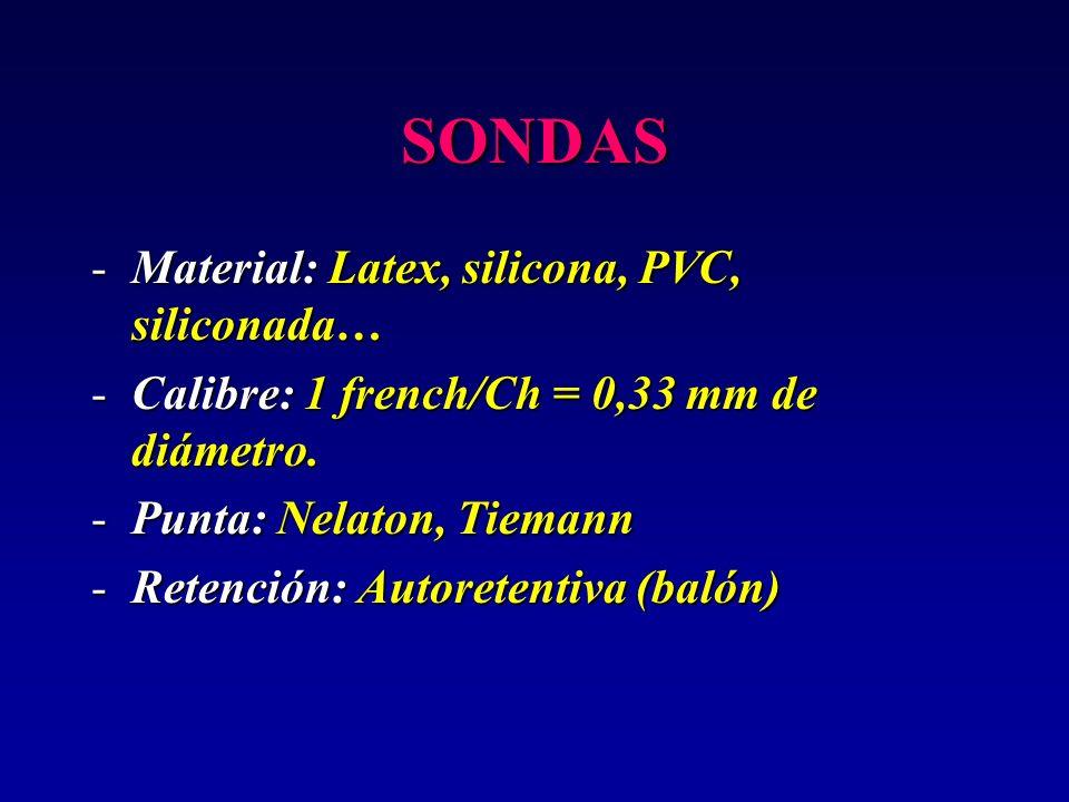 SONDAS -Material: Latex, silicona, PVC, siliconada… -Calibre: 1 french/Ch = 0,33 mm de diámetro. -Punta: Nelaton, Tiemann -Retención: Autoretentiva (b