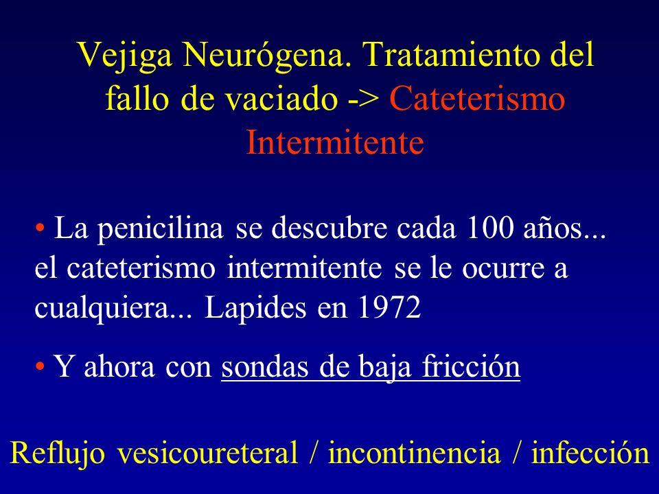 Vejiga Neurógena. Tratamiento del fallo de vaciado -> Cateterismo Intermitente Reflujo vesicoureteral / incontinencia / infección La penicilina se des