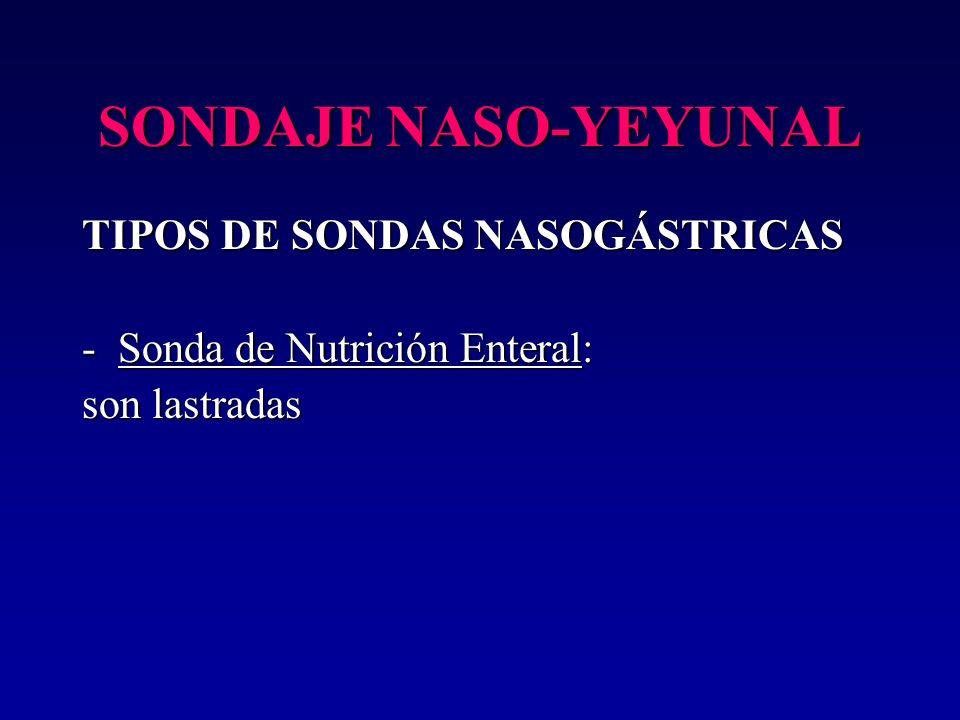 SONDAJE NASO-YEYUNAL TIPOS DE SONDAS NASOGÁSTRICAS -Sonda de Nutrición Enteral: son lastradas