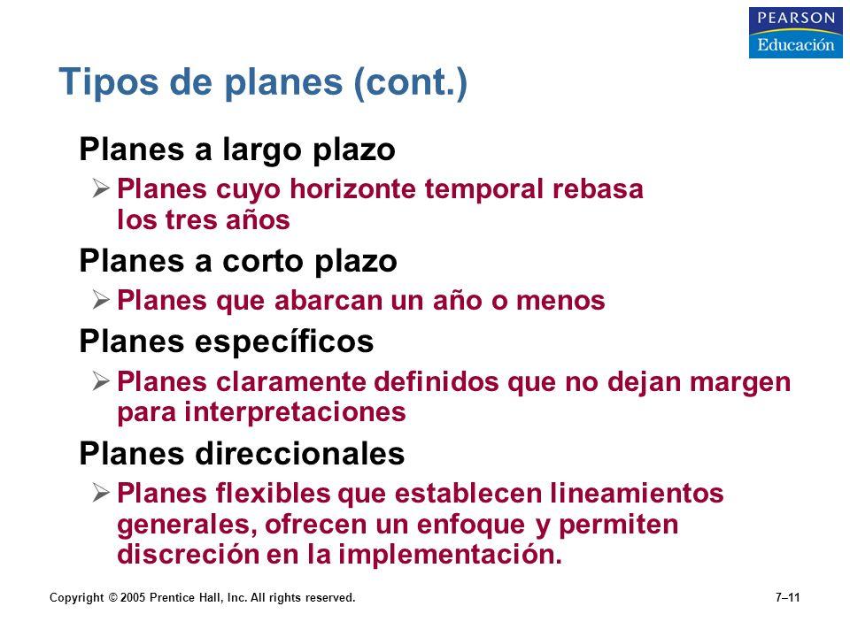 Copyright © 2005 Prentice Hall, Inc. All rights reserved.7–11 Tipos de planes (cont.) Planes a largo plazo  Planes cuyo horizonte temporal rebasa los