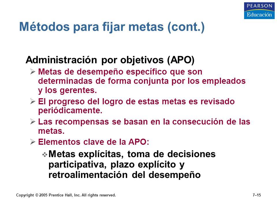 Copyright © 2005 Prentice Hall, Inc. All rights reserved.7–15 Métodos para fijar metas (cont.) Administración por objetivos (APO)  Metas de desempeño