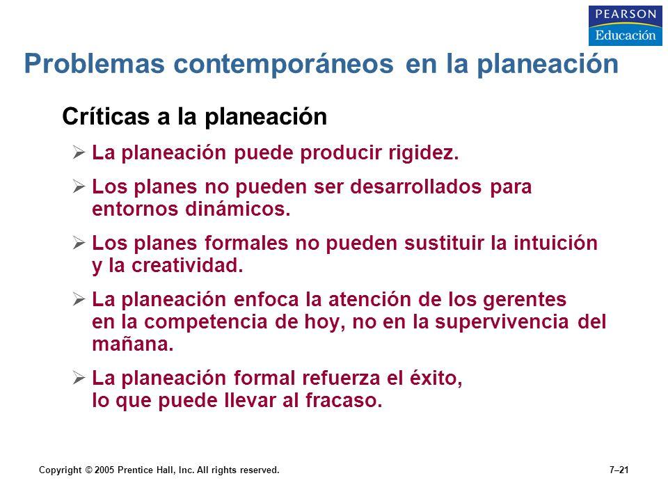 Copyright © 2005 Prentice Hall, Inc. All rights reserved.7–21 Problemas contemporáneos en la planeación Críticas a la planeación  La planeación puede