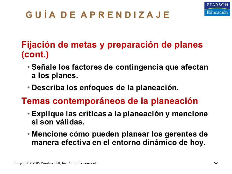 Copyright © 2005 Prentice Hall, Inc.All rights reserved.7–5 Qué es planeación.
